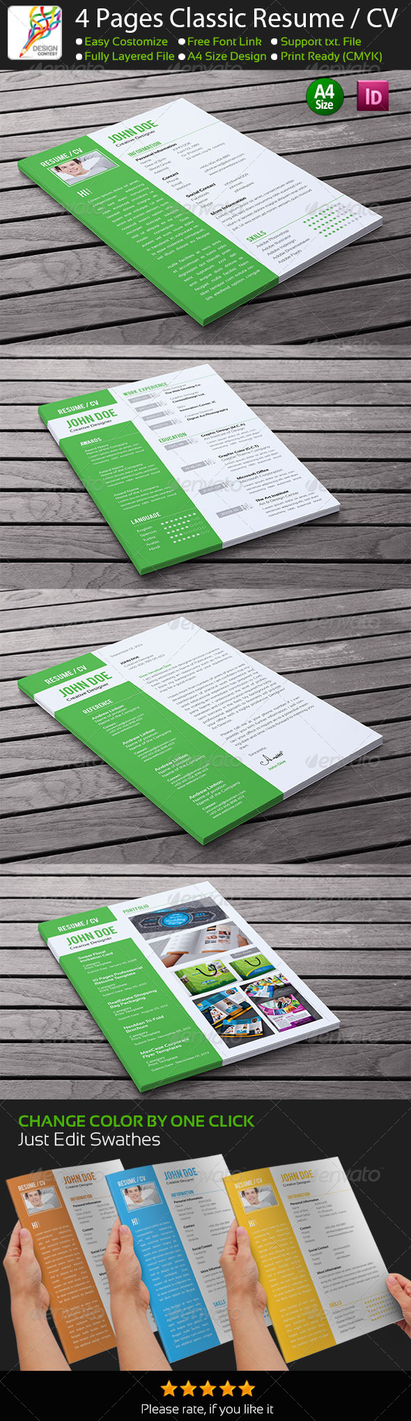 4 Pages Classic InDesign Resume