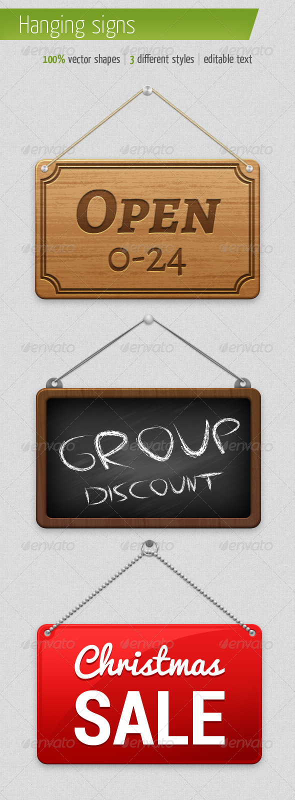 3 Different Hanging Signs - Illustrations Graphics