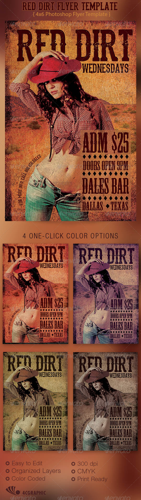 Red Dirt Flyer Template - Clubs & Parties Events