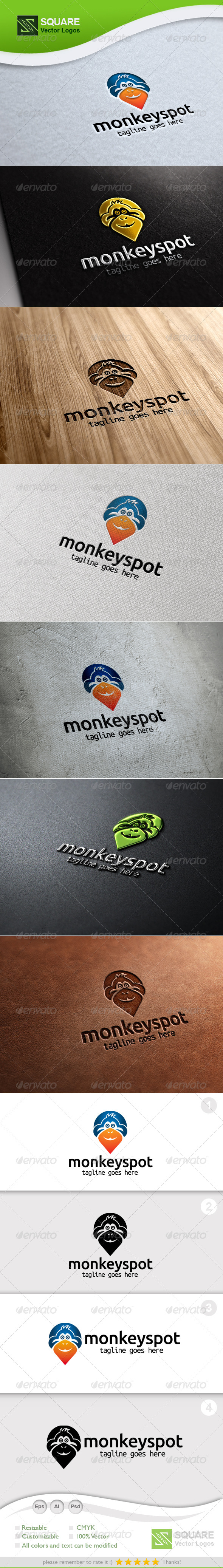 Monkey, Locator Vector Logo Template - Animals Logo Templates