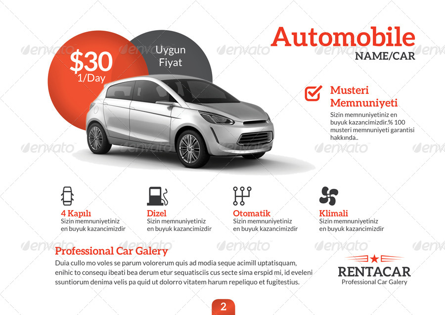 Rent A Car Brochure Template By Grafilker Graphicriver