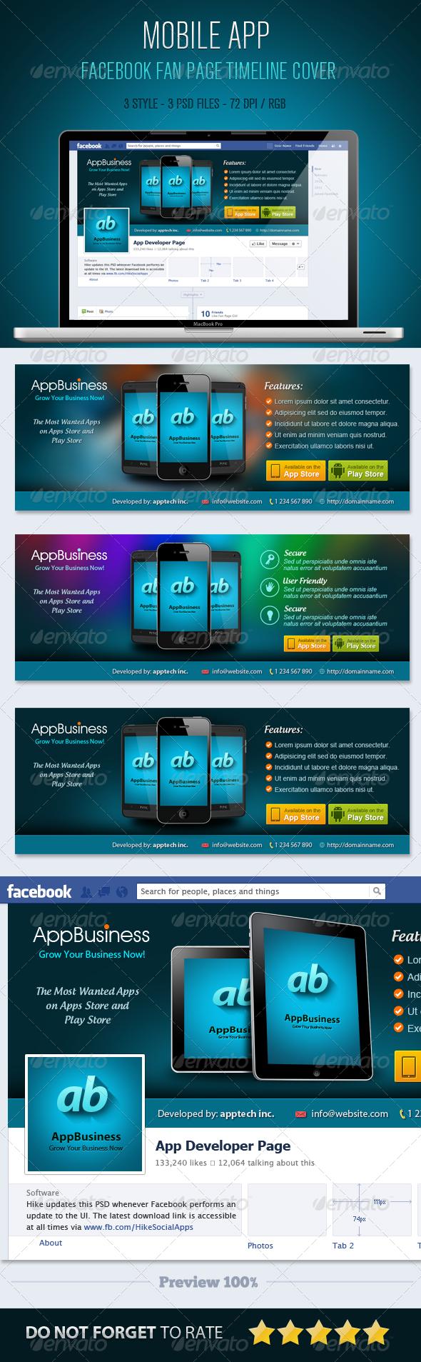 Mobile App Facebook Timeline Cover by myboodesign   GraphicRiver