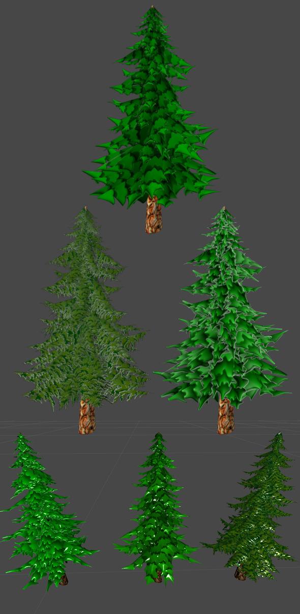 Toon Pine Tree - 3DOcean Item for Sale