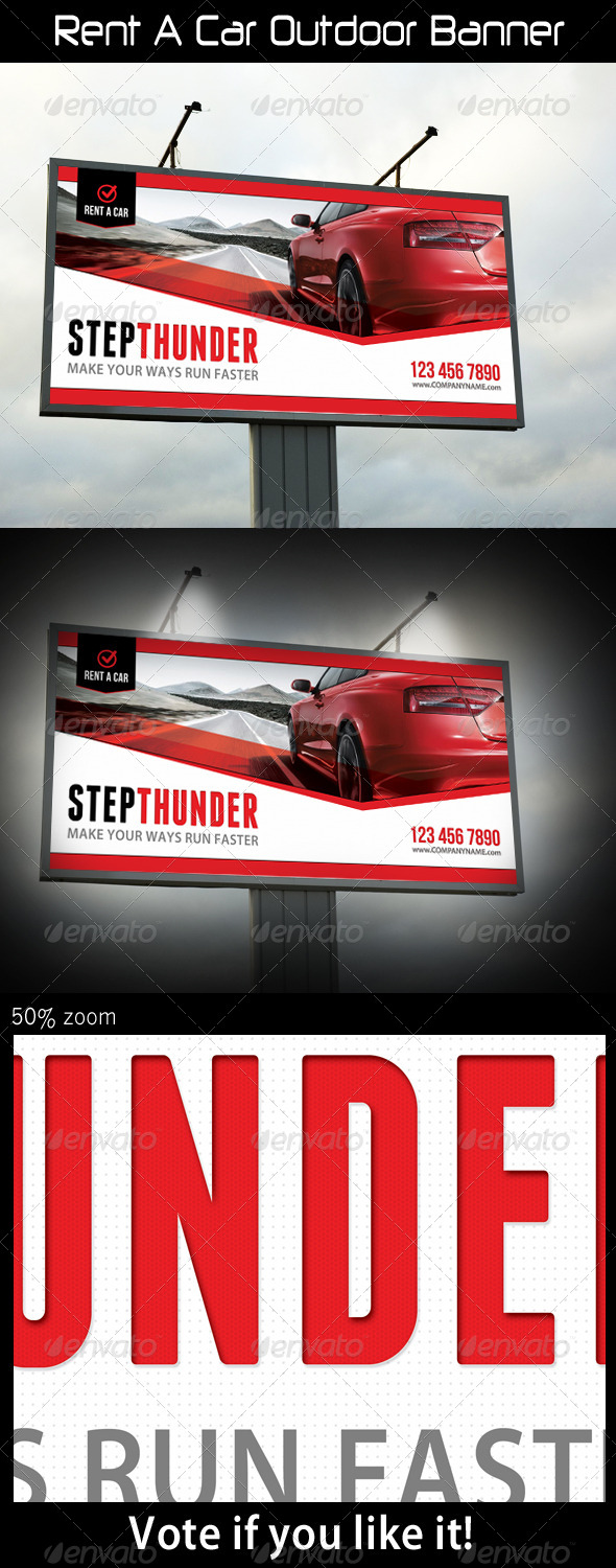 Rent A Car Outdoor Banner - Signage Print Templates