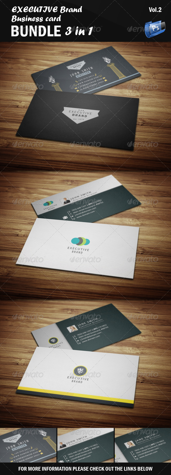 Executive business card bundle 3 in 1 vol2 by vectormedia executive business card bundle 3 in 1 vol2 corporate business colourmoves