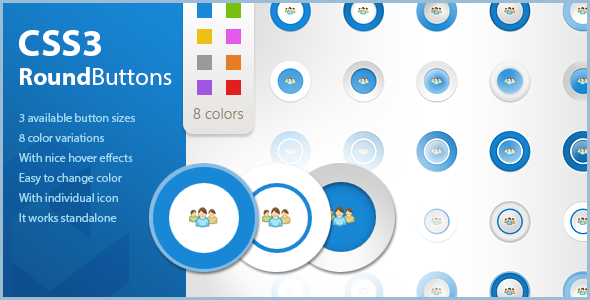 CSS Icon Round Buttons with Hover Effects - CodeCanyon Item for Sale