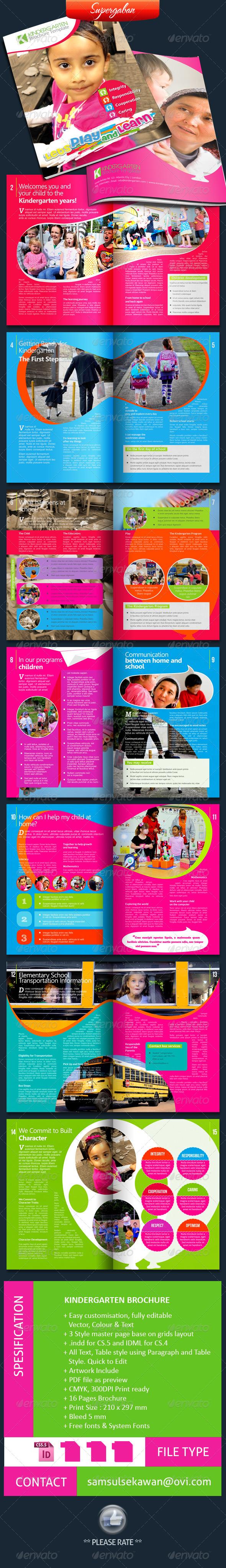 16 Pages Kindergarten Brochure by supergaban – Kindergarten Brochure Template