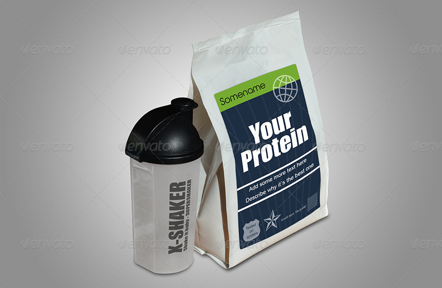 Protein in Plastic Bag + Shaker Mock-up by themedia ...
