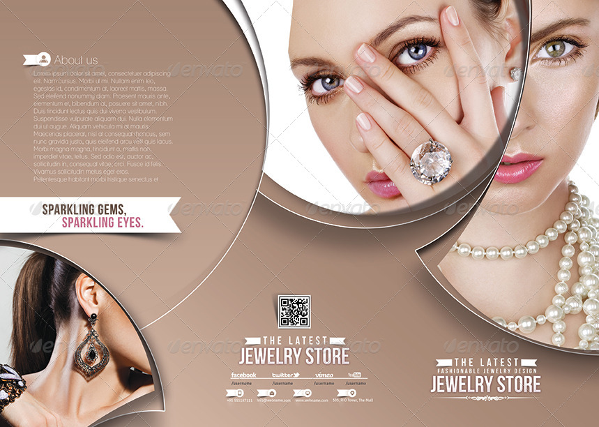 Jewelry Shop Trifold Brochure Template By Redshinestudio