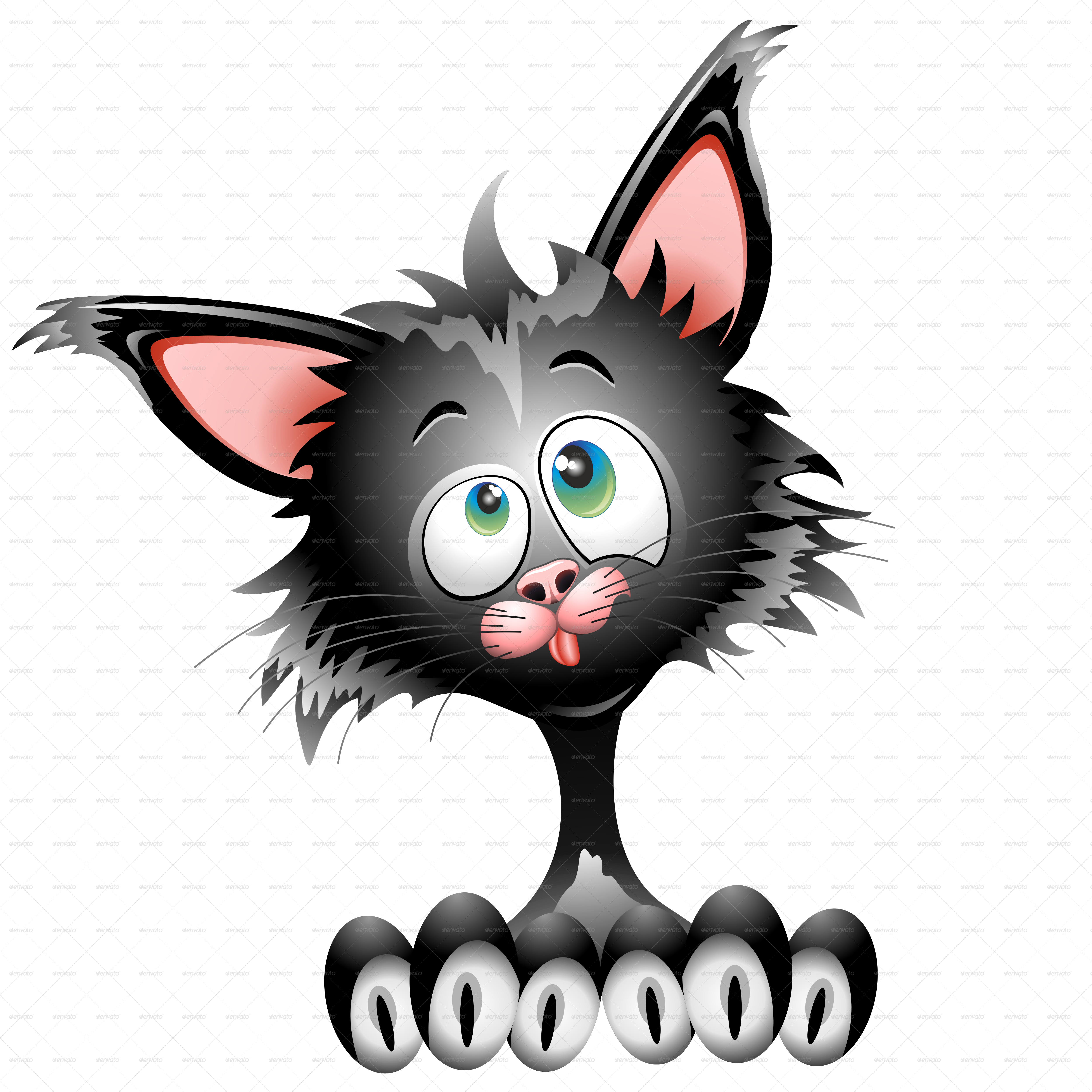 Cat Cartoon Character Funny Face Portrait By Bluedarkat Graphicriver