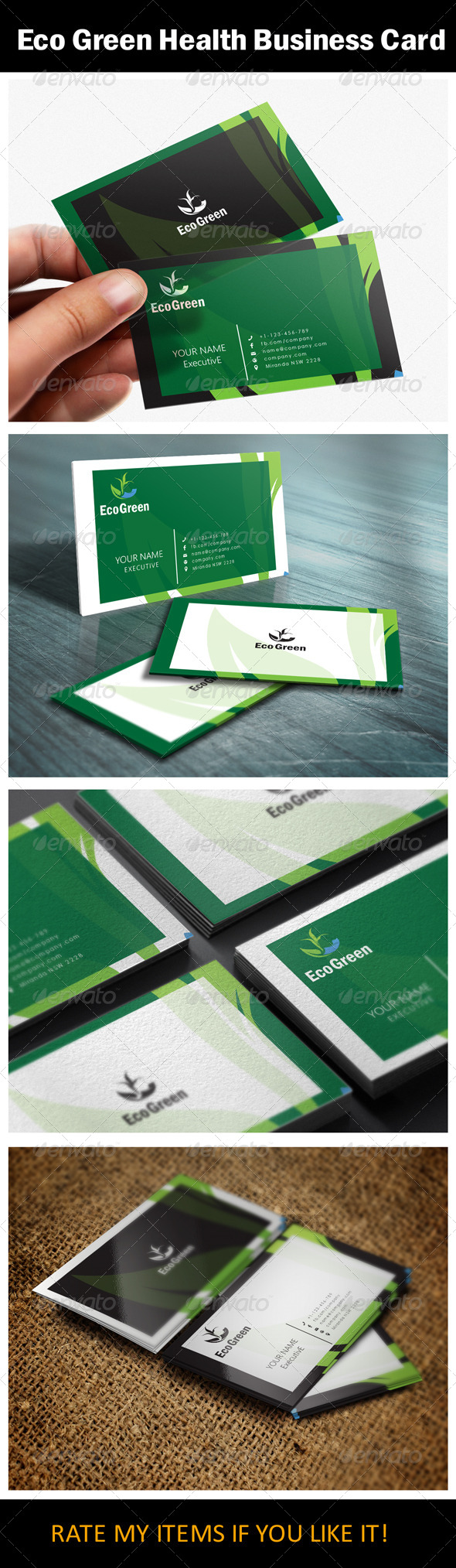 Eco Green Health Business Card Design by shujaktk | GraphicRiver