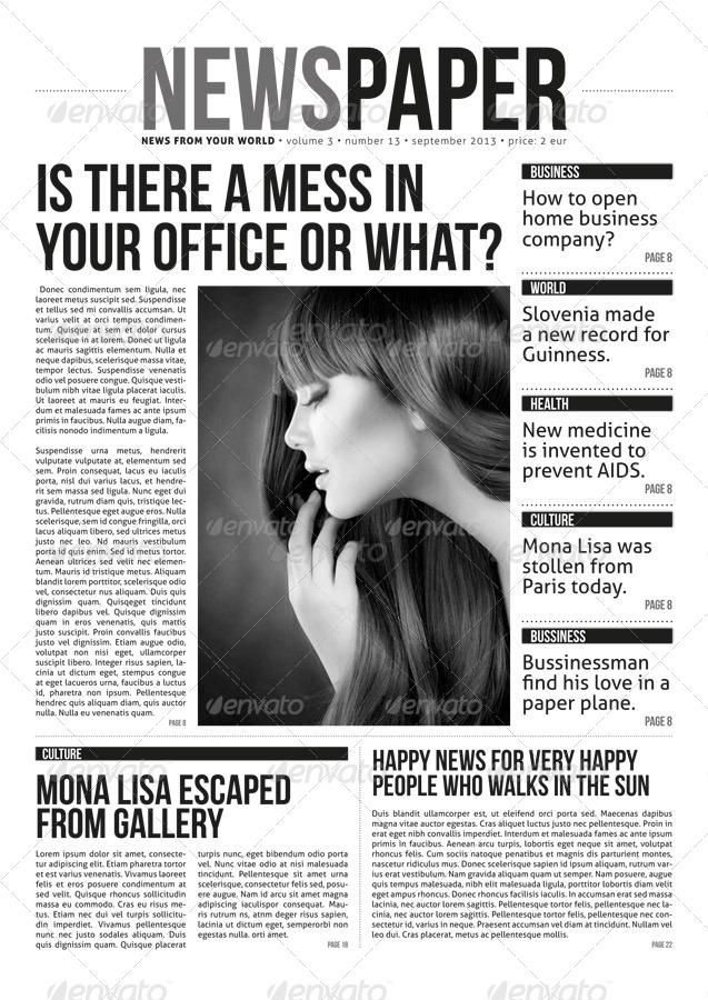 Indesign Modern Newspaper Magazine Template A3 By Zigazi83
