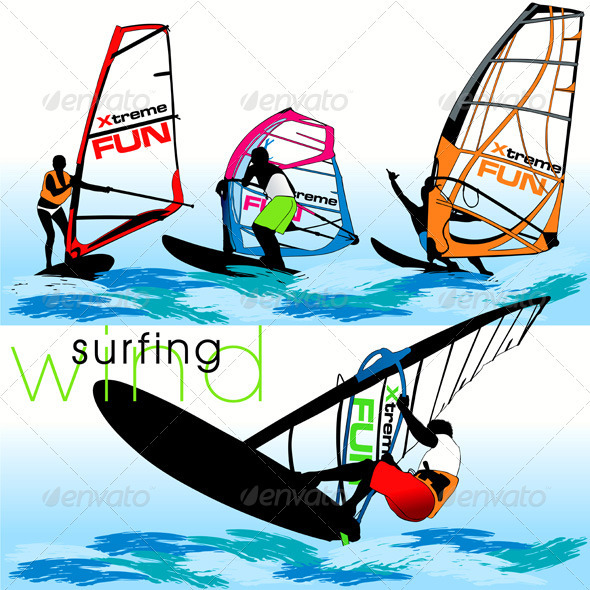 Windsurf Silhouettes Set - Sports/Activity Conceptual