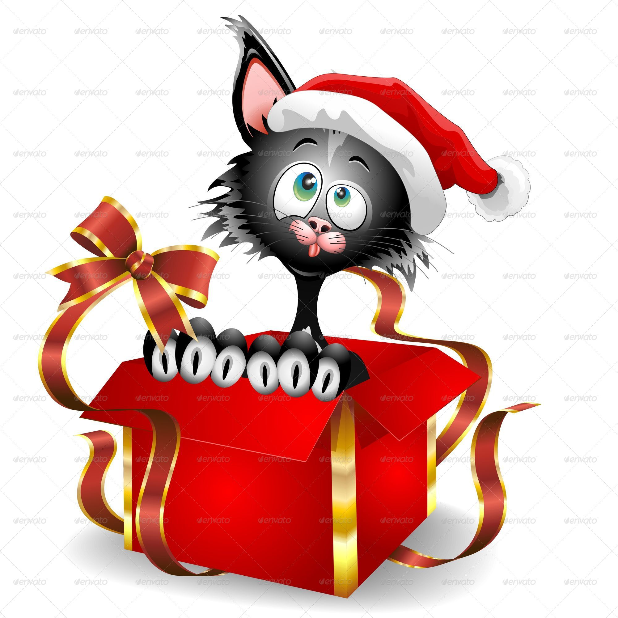 Cat cartoon on christmas gift by bluedarkat graphicriver