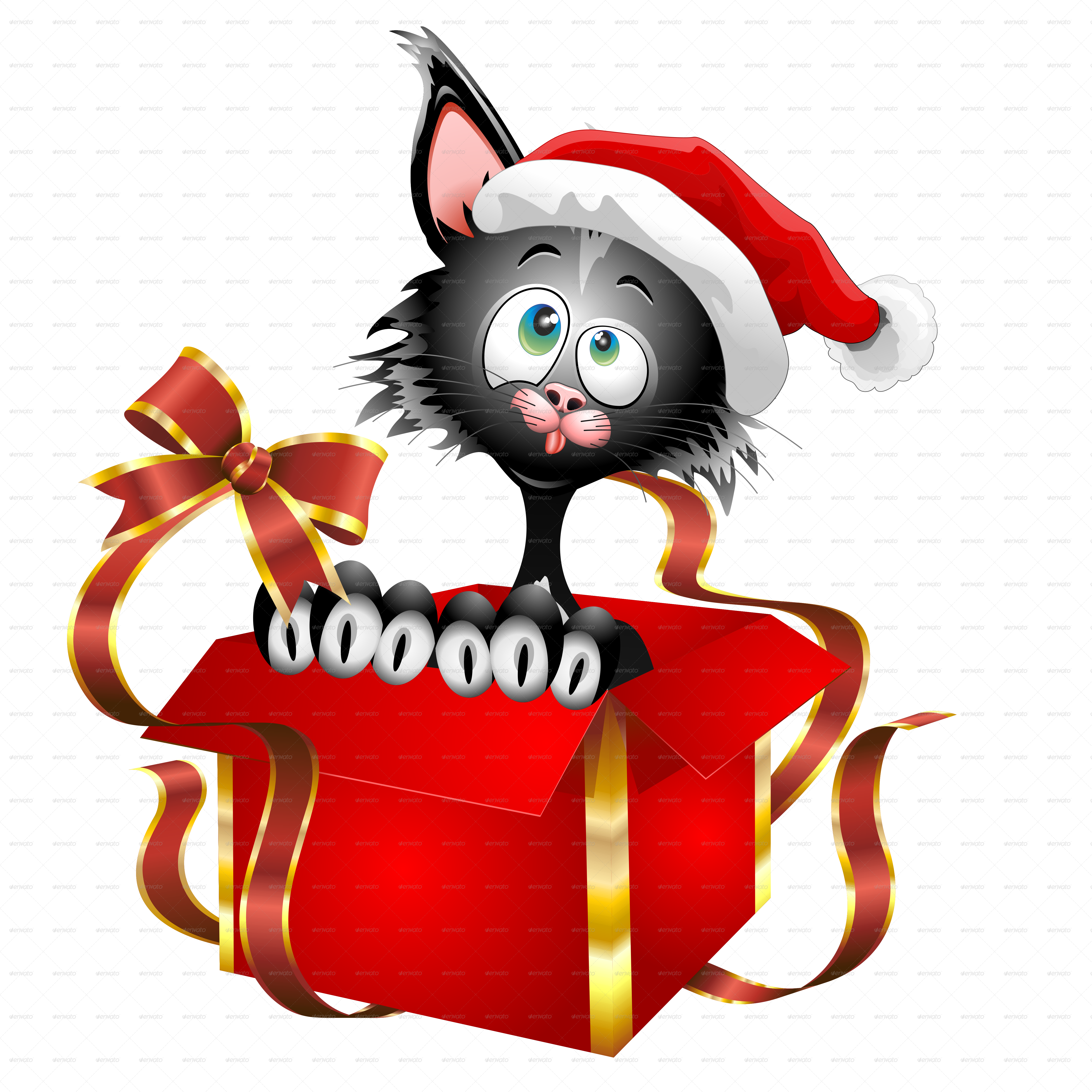 Cat Cartoon on Christmas Gift by Bluedarkat | GraphicRiver