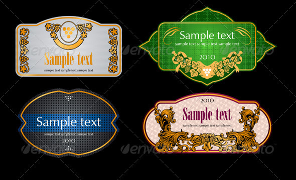 Vintage Wine Labels Set - Flourishes / Swirls Decorative