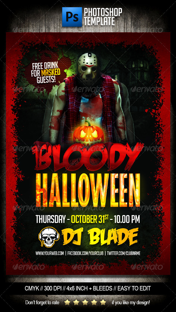 Bloody Halloween Party Flyer Template By Dodimir | Graphicriver