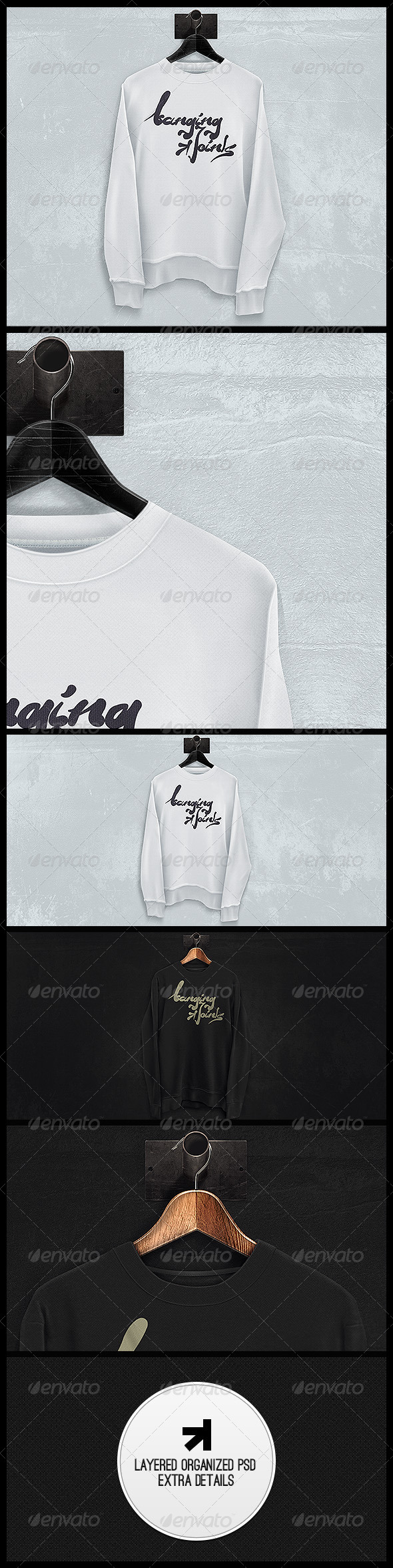Black White Sweatshirt Mockup - T-shirts Apparel