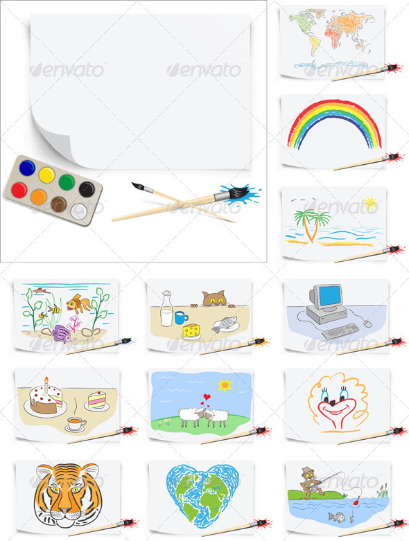 Set of the young artist - Miscellaneous Vectors