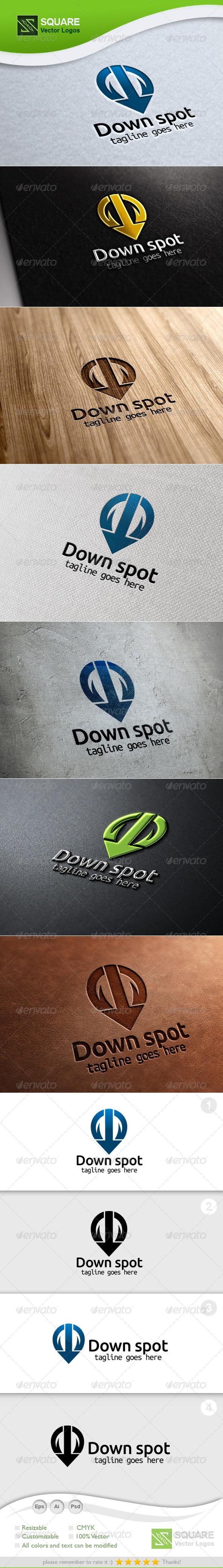 Down Arrow, Locator Vector Logo Template - Symbols Logo Templates