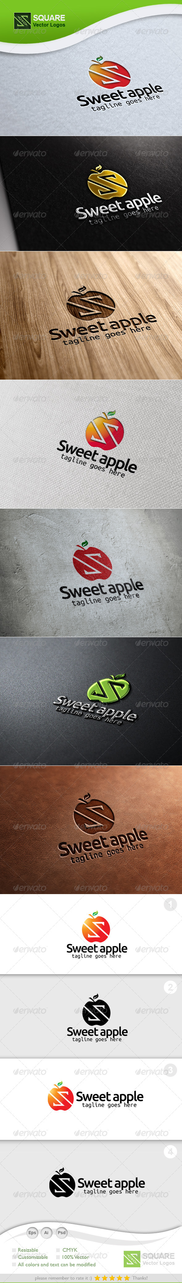 S Letter Apple Vector Logo Template - Letters Logo Templates