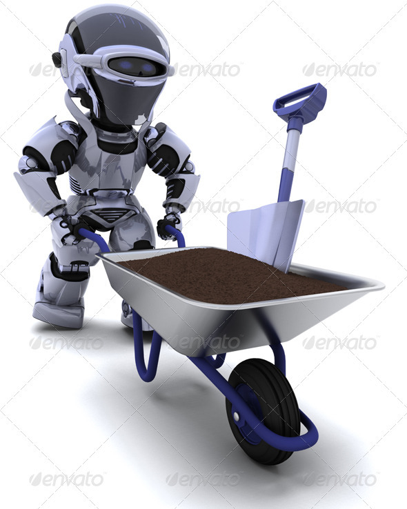 Robot with Wheelbarrow - 3D Backgrounds