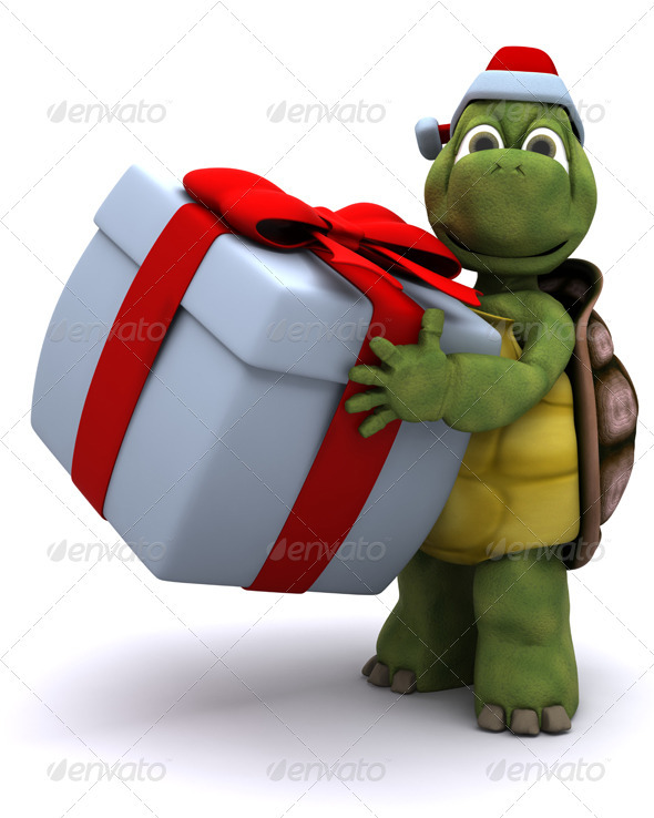 Cute Turtle Carrying a Christmas Gift - 3D Backgrounds