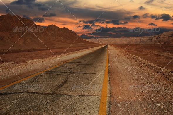 Sunset in desert. - Stock Photo - Images