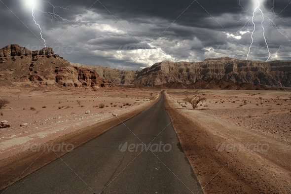 Narrow road through the desert in Israel. - Stock Photo - Images