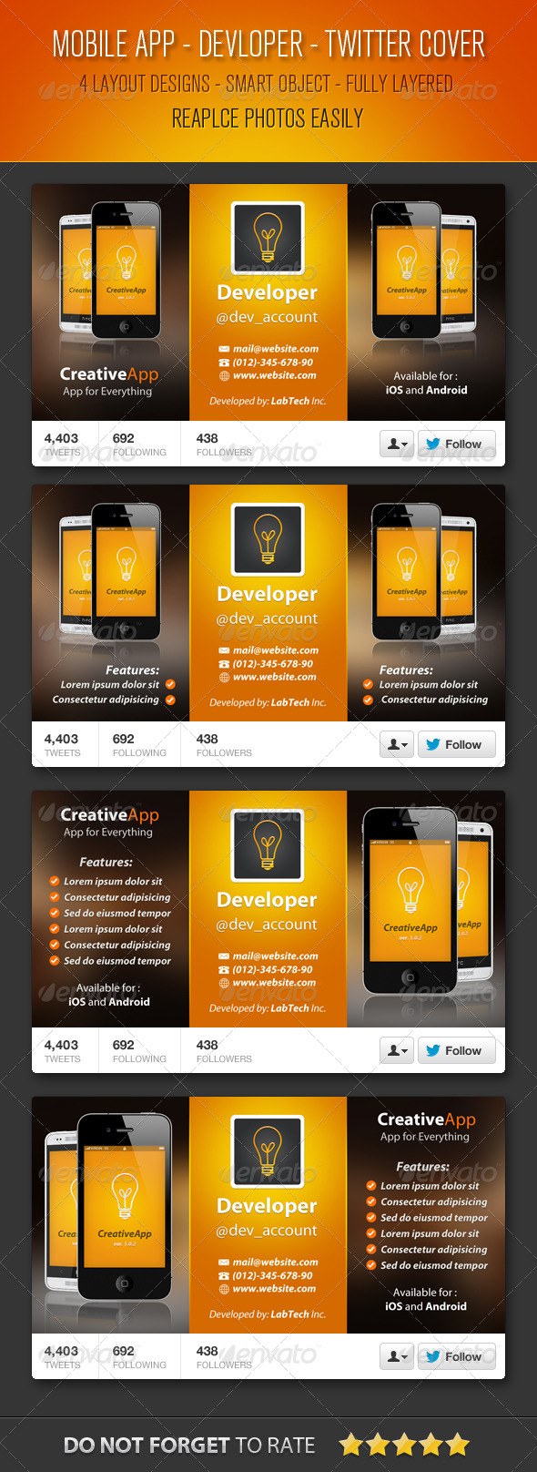Mobile App Developer Twitter Cover by myboodesign   GraphicRiver
