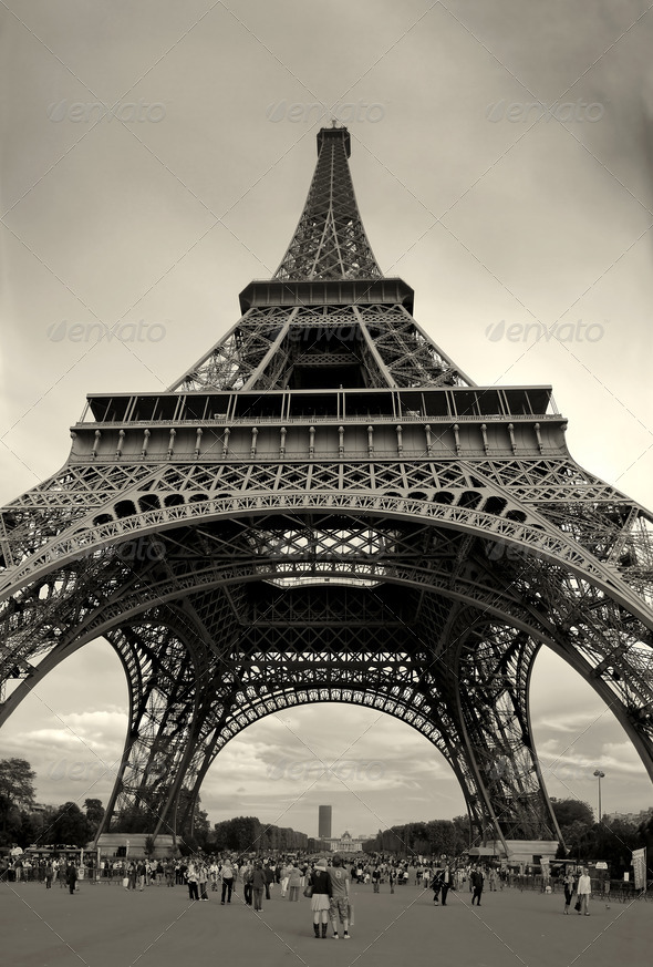 Vertical capture of Eiffel Tower. - Stock Photo - Images