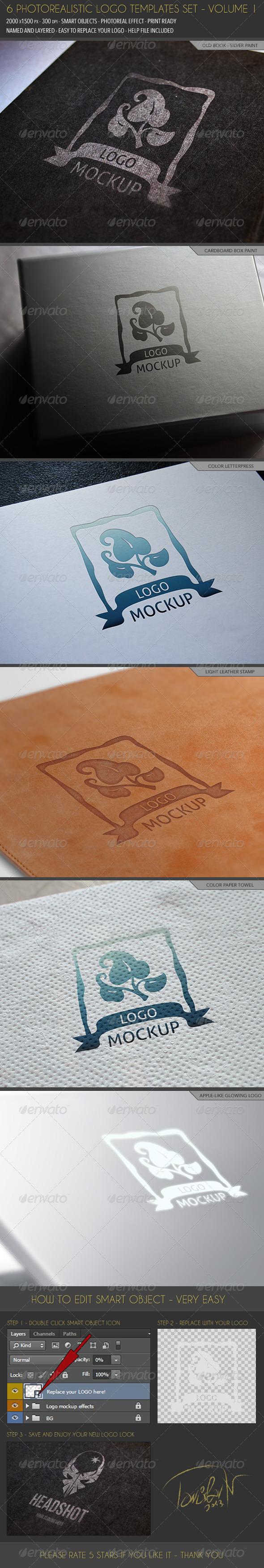 6 Photorealistic Logo Templates - Volume 1 - Logo Product Mock-Ups