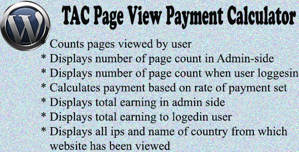 TAC Page View Payment Calculator  - CodeCanyon Item for Sale