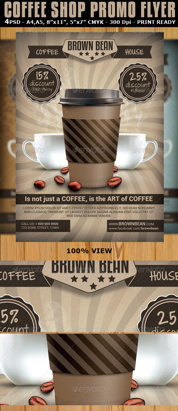 Coffee Shop Magazine Ad or Flyer Template V2 - Commerce Flyers