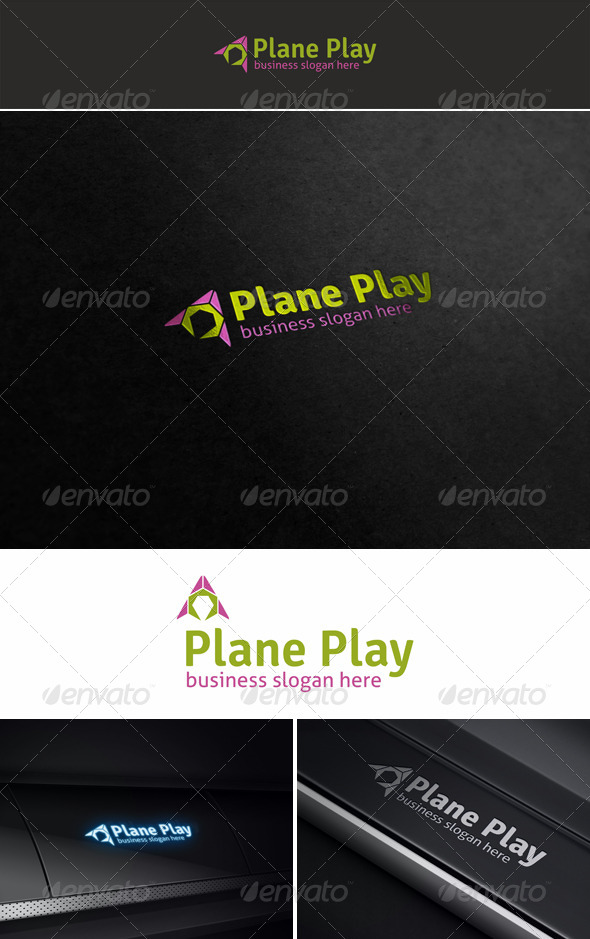 Plane Play Media Logo - Symbols Logo Templates
