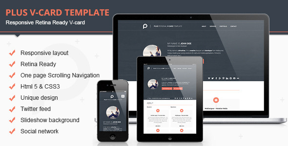 Plus Responsive Retina Ready V-card Template - Virtual Business Card Personal
