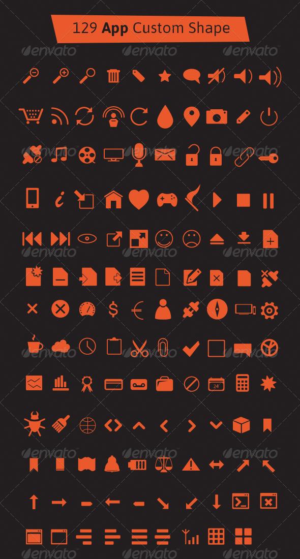 129 App Custom Shape Icons - Shapes Photoshop