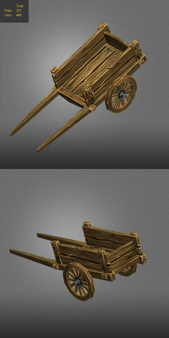 old carriage low poly - 3DOcean Item for Sale