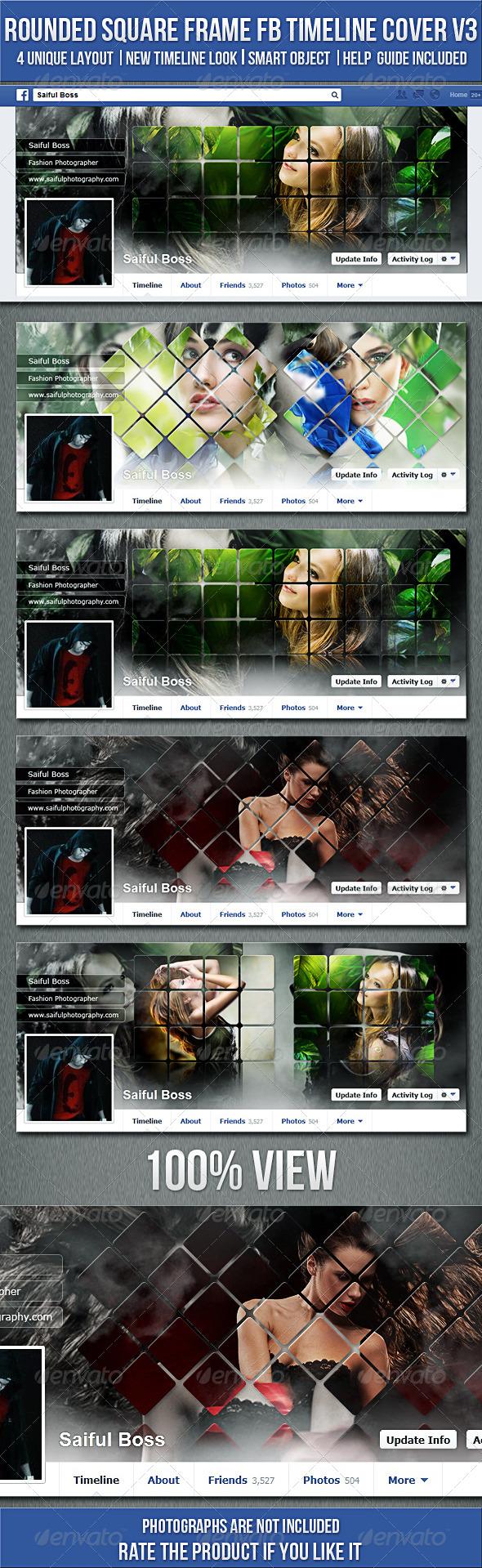 Rounded Square Frame FB Timeline Cover V3 - Facebook Timeline Covers Social Media