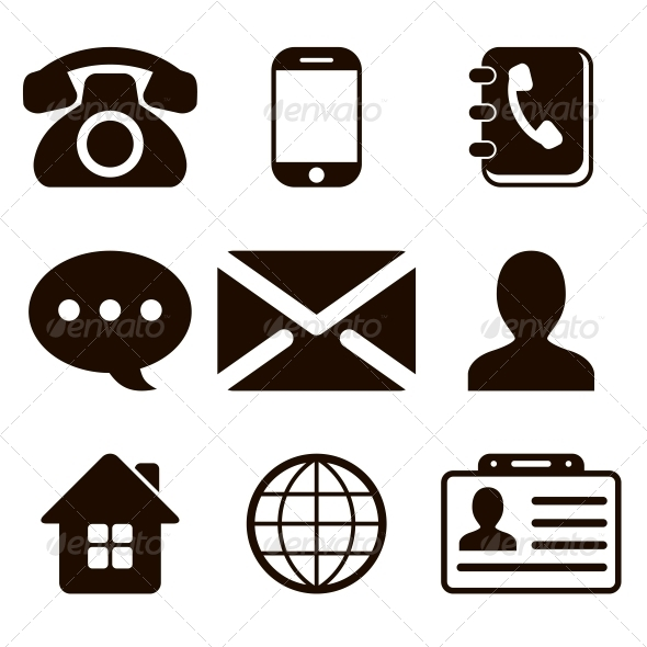 Contact Icons Set by yulias07 | GraphicRiver