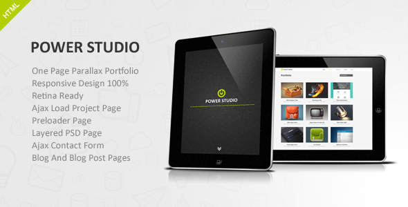 Power Studio - One Page Parallax Portfolio - Portfolio Creative