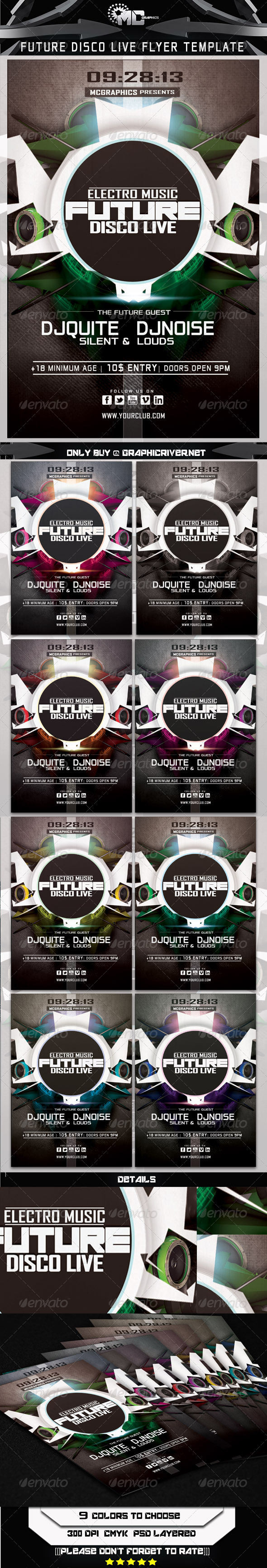 Future Disco Live Flyer Tempate - Print Templates