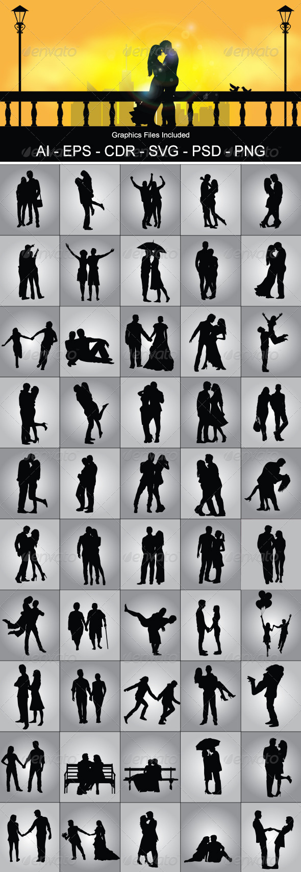 Romantic Couple Silhouette - People Characters