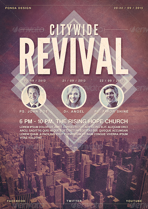 citywide revival flyer  poster template by junponda