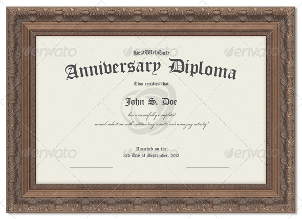 Anniversary Diploma Certificate   Miscellaneous Print Templates  Anniversary Certificate Template