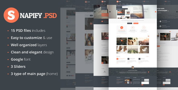 Snapify – clean and modern PSD Template
