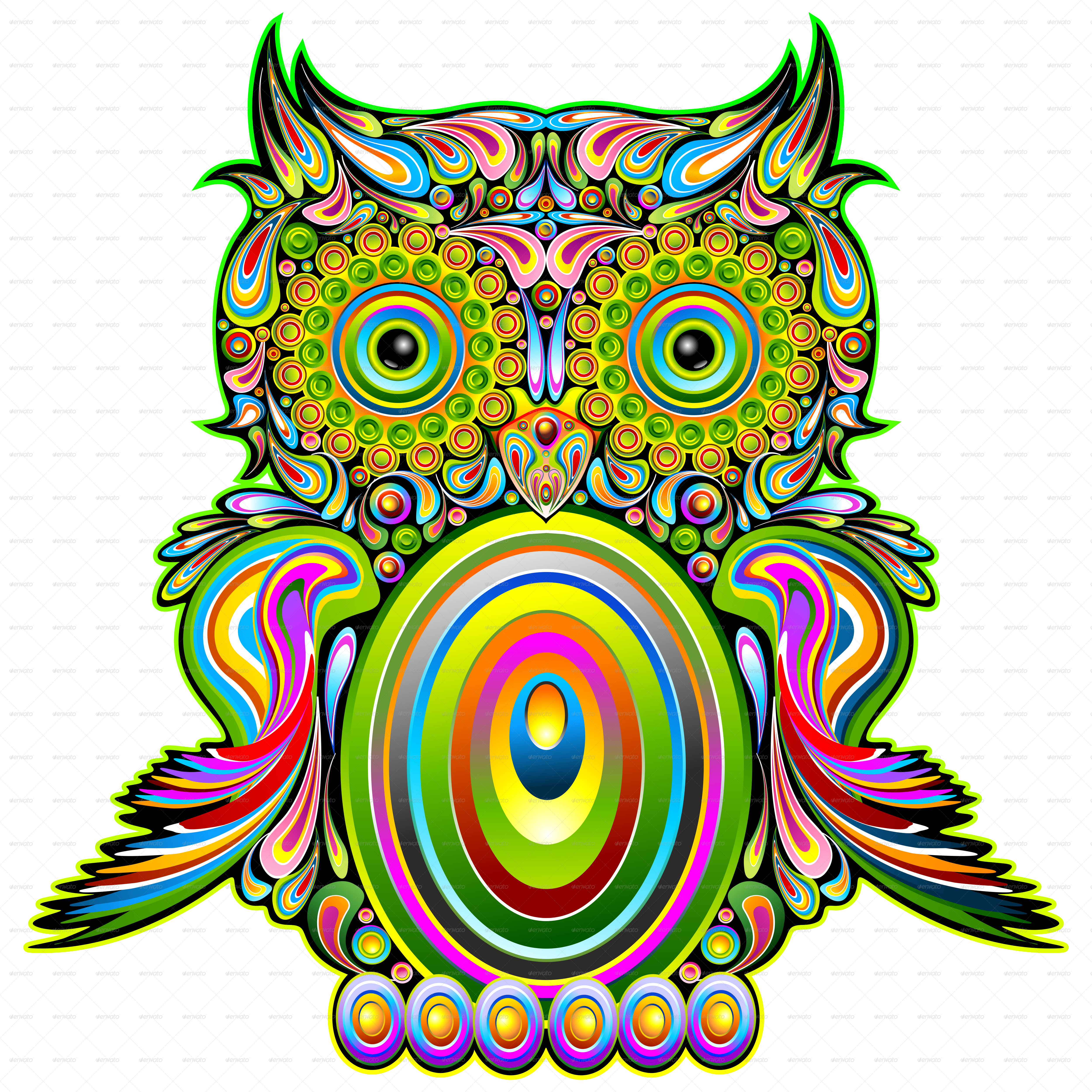 owl psychedelic pop art by bluedarkat graphicriver