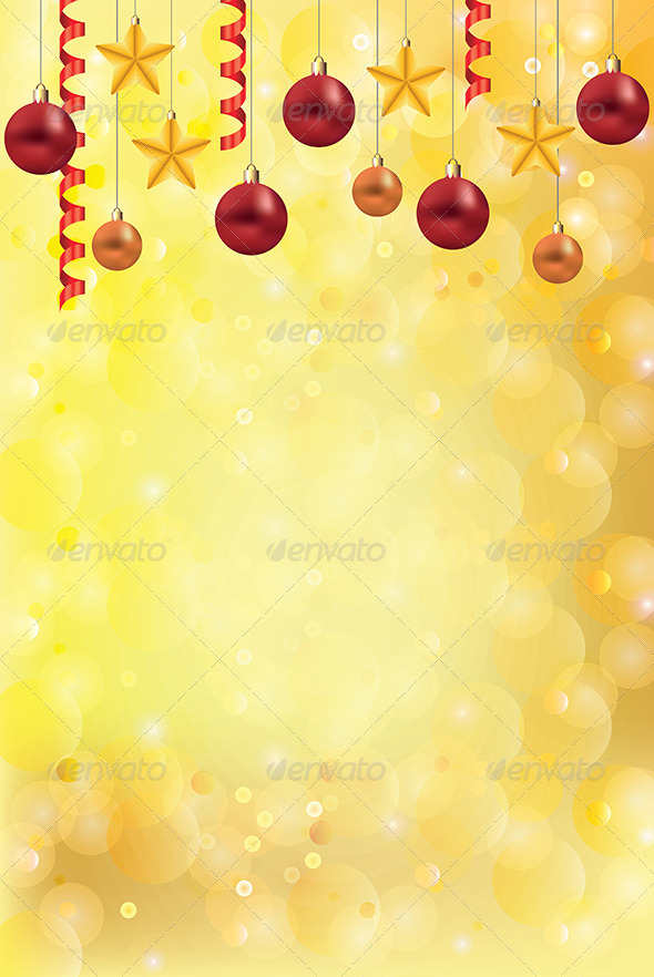 Golden Christmas Background With Balls And Stars