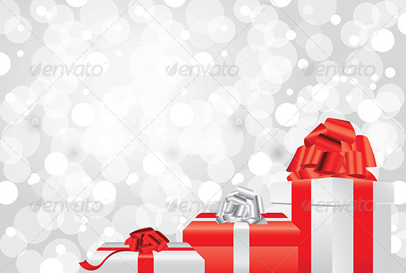 white christmas background with gifts and presents by