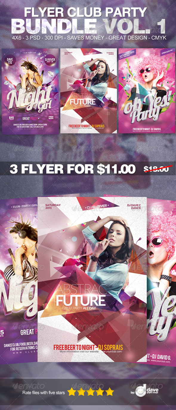 Flyer Club Party Bundle Vol. 1 - Clubs & Parties Events
